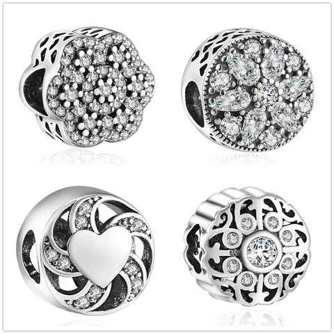 YANXIZAO Full Diamo Jewelry Making Handmade Flowers Diy Beads Fit Pulseira Bracelet Charms Silver 925 Berloque