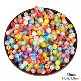 150pcs/lot Mixed Color Round Acrylic Striped DIY Beads Jewelry Accessories Plastic Loose Spacer Hole Beads For Jewelry Making