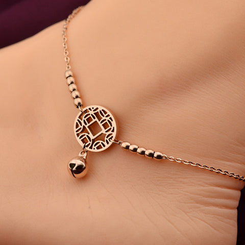 VOGUESS HOT Little Bell Anklet Bracelet Rose Gold Titanium Steel Women Girl Lover Barefoot Anklet Fashion Foot Chain Jewelry
