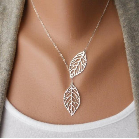 Hot Fashion Gold Silver Plated Chain Necklace Leaf Casual Beads Long Strip Pendants Gifts Women Necklaces Jewelry jl50