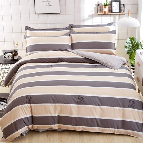 Autumn Winter Bedding Sets Cover Flat Sheet Duvet Cover Bed Set Double Color Stripe Design Pillowcase King Queen Full Twin