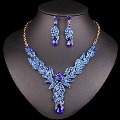Fashion leaf Bridal Jewelry Sets Wedding Party Costume Accessory Indian Necklace & Earrings sets for brides jewellery for Women