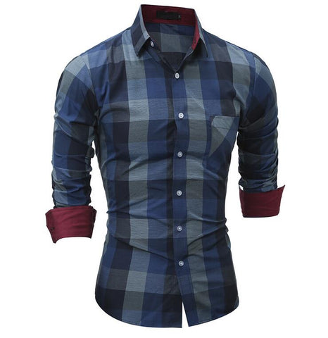 JIN JUE LES 2018 Fashion Brand Shirt For Men Classic Plaid Shirt Casual Men's Shirts Long Sleeve Social Dress blouse
