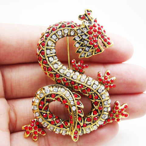 Luxury Red Animal Dragon Woman Brooch Pin Rhinestone Crystal Vintage Jewelry