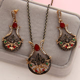 Gorgeous Turkey Bridal Jewelry Sets For Women Vintage Look Colorful Resin Necklace Earrings Set Antient Gold Flower Love