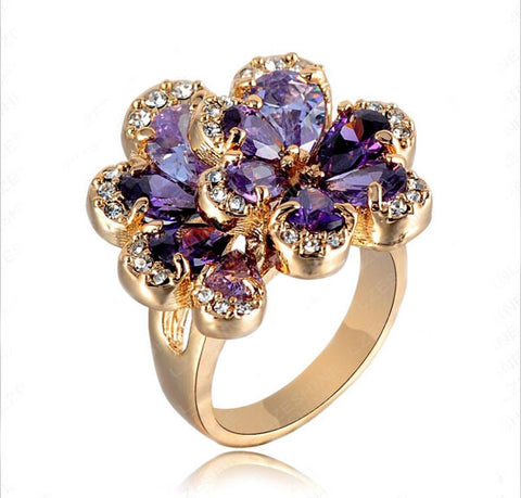Fashion New Women Rings Rose Gold Color Flower Ring With Purple Austrian Crystal 22X24mm Christmas Gift Ri-HQ0281