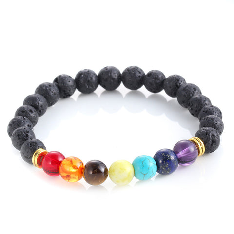 New Arrival 7 Chakra Healing Beaded Bracelet Natural Lava Stone Diffuser Bracelet Jewelry Delicate shipping N-24