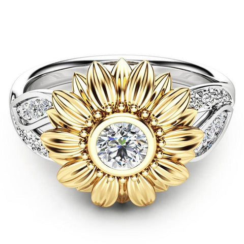 New Exquisite Women's Two Tone Silver Floral Ring Round Gold Sunflower Jewelry Accessories Amazing hot sales Jan 4