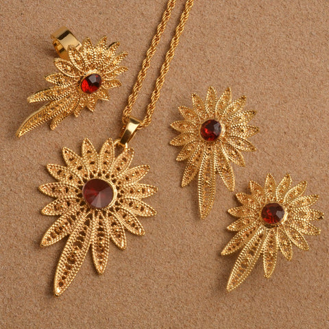 Anniyo Ethiopian Wedding Jewelry Sets Pendant Necklace/Earring/Ring Gold Color African Eritrea Habesha Gifts #L0006