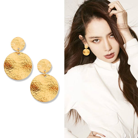 Metal Textured Round Disc Clip Earrings Without Statement Geometric Big Circle Earrings No Pierced hole