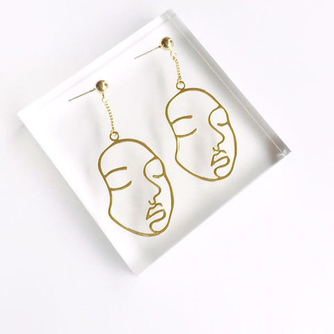 New Abstract Hollow Out Face Dangle Earrings Girls Statement Long Earrings Jewelry Earrings boucles d'oreilles Brincos