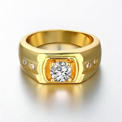Fashion Party Gold Zircon Jewelry Men ring Brand Jewellery gold color Rings for Men Male Ring Aneis Anillos INALIS R141