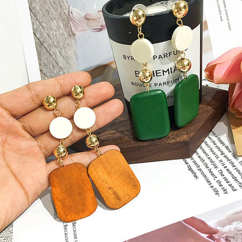 New Women's Hot Fashion Long Statement Earrings DIY Wooden Geometric Square Round Connection Earrings Women Jewelry