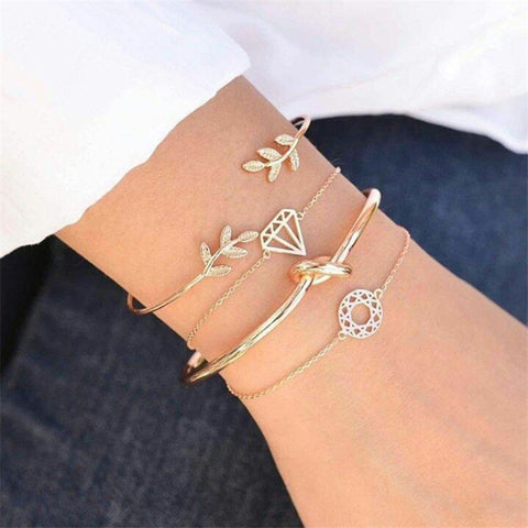 NEWBUY 4pcs/set Bohemian Retro Punk Gold Color Leaves Knot Link Chain Opening Bracelets For Women Hot Female Party Jewelry Gift