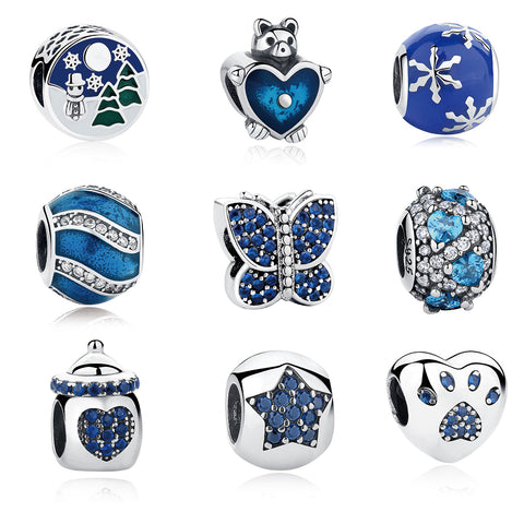 EVOJEW Blue Color Murano Glass Beads Fit 925 Silver Charm Bracelet Necklace DIY Jewelry Making Birthday