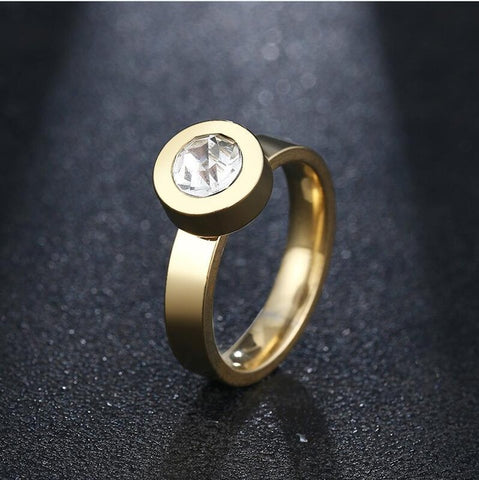 CACANA Titanium Stainless Steel Rings Engagement Double Rings For Couples Men Women Gold Color Pairs Wedding Ring