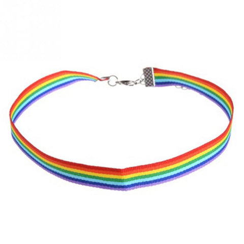 Rainbow Choker Necklace Gay Pride LGBT Ribbon Clavicle Chain Jewelry Choker