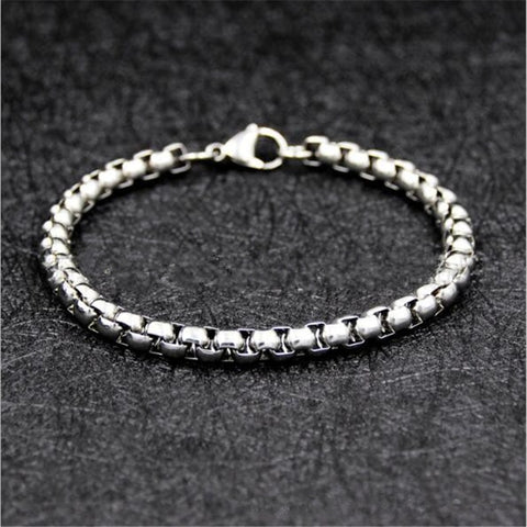 Low price wholesale 316L stainless steel 4MM 6MM 21CM chain bracelet & Bangles men's party jewelry