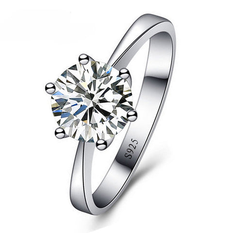 Giemi Simple Romantic Wedding Rings Female Jewelry Cubic Zircon Ring for Women Men 925 Silver Rings Decoration Bague