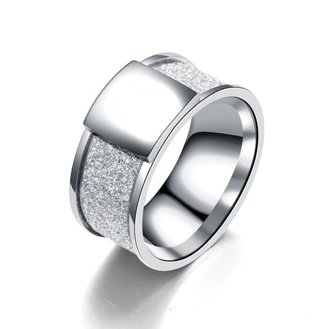 10mm Stainless Steel Scrub Ring Punk Rock Square Rings Men Women