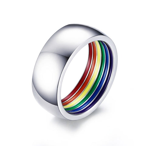 Trendy Gay Rainbow Ring Inner Colorful LGBT Stainless Steel Ring for Women and Men Wedding Party Jewelry