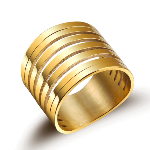 New Punk Multilayer Hollow Stainless Steel Rings For Men Wide Gold Color Trendy Stack Ring Women Party Jewelry Accessories