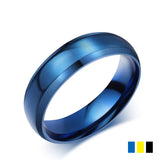 6MM Size 4-14 Titanium Steel Ring For Women Men Trendy Wedding Bands Black/Blue/Gold Color Finger Rings Stainless Steel Jewelry