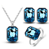 christmas gifts queen brand bridal wedding 18KGP crystal square pendant necklace earrings RINGS jewelry sets 84844