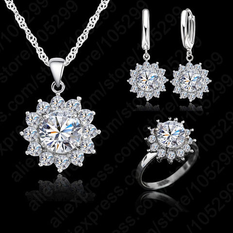 JEXXI New Fashion Sun Flower Cubic Zirconia 925 Silver Jewelry Sets Earrings Pendant Necklace Rings Size 5-9