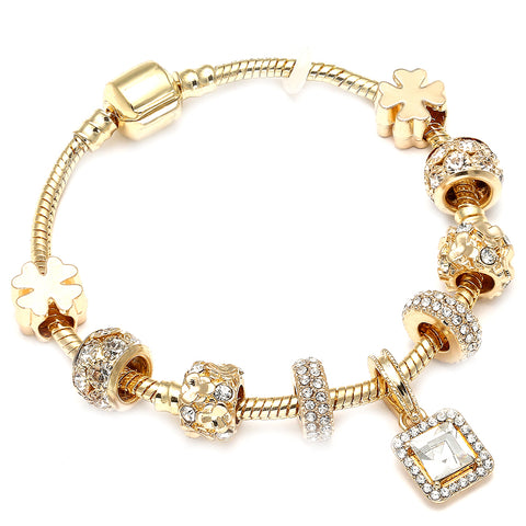 Luxurious Plated Gold Charms Bracelet for Crystal fit Brand Bracelets Bangles Diy Woman Weddding Jewelry Accessories Female