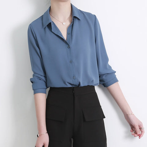 1c94e185fea New Women's Shirt Classic Chiffon Blouse Female Plus Size Loose Long Sleeve  Casual Shirts Lady Simple