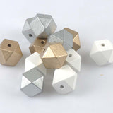 10pcs 20mm glud and silver Wooden Cube unfinished geometric Beads For Jewelry making MT2020X