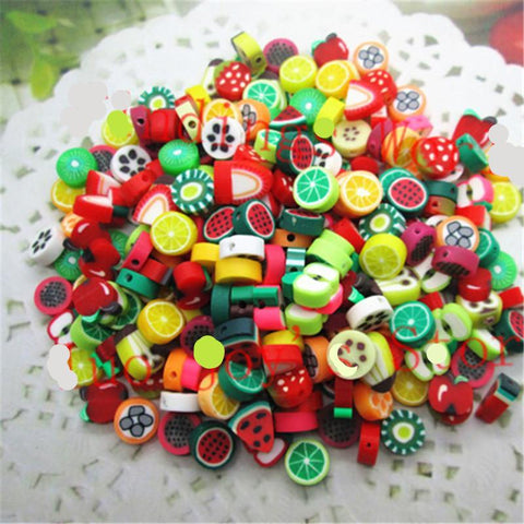 100pcs/lot Mixed Color 10mm Fruit Resin Flatback Polymer Clay Beads