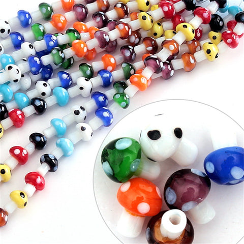 10x12mm Approx 20pcs/lot Mixed Colours Lampwork Glass Mushroom Beads For Jewelry Making DIY Jewelry Findings