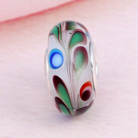 New 925 Silver Bead Charm Colourful Folklore Lampwork Murano Glass Beads Fit Bracelet Bangle DIY Jewelry
