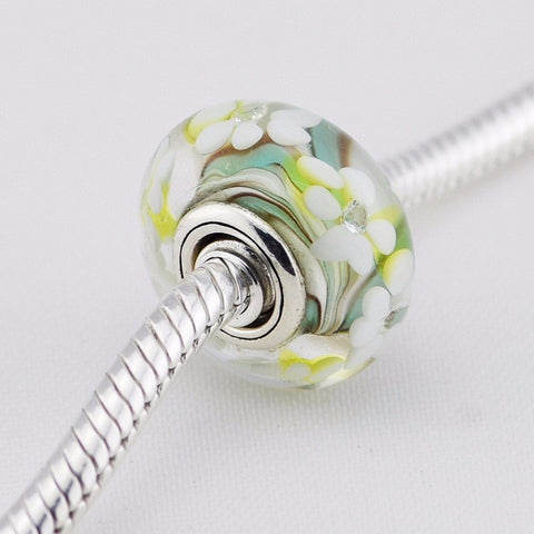 Authentic 925 Silver Jewelry Flower Silver Charms Mixed Colours Of Murano Glass Beads with Cubic Zirconia for Women