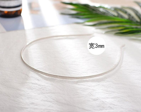 10PCS/lot 3/5/6mm Stainless Steel Dull Silver/Black Plain Blank Flat Hair Band Headband DIY Hair Jewelry Accessories Crafts