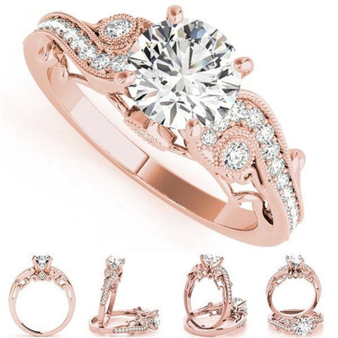 1pcs Fashion Rose Gold Ring Crystal Zircon Engagement Wedding Ring Anniversary Gift For Women Dance Party Jewelry