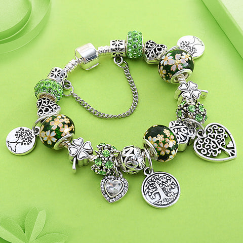 shipping Green Tree of Life Charm Pan Bracelet Silver Color Heart Flower Bead Bracelets & Bangles Fashion Jewelry Gift