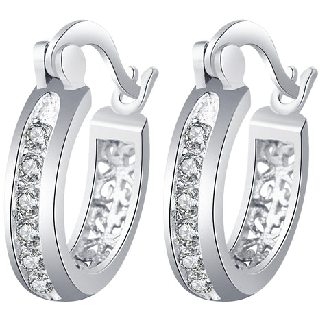 Stylish Earings for Women Silver Color white cz Stones Engagement Hoop Earrings Fashion Jewlry round classic earring