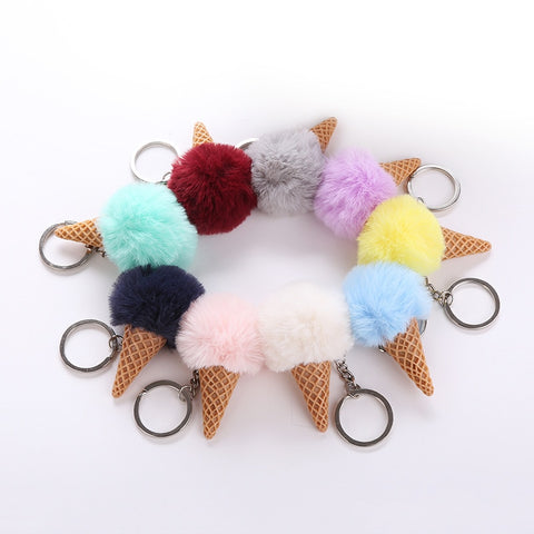 Fur Ice Cream Key-chain Pompom