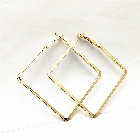 Fashion Exaggerated Big Rhombus Earrings for Women Hollow Geometric Hoop Earrings Simple Jewelry
