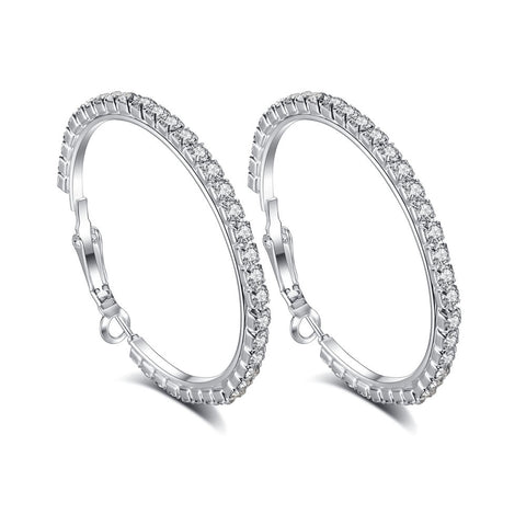 Simple Fashion White Round full Zircon Hoop Earrings For Women Romantic 3 sizes Earring Hoops Jewelry Gift Personalized Earrings