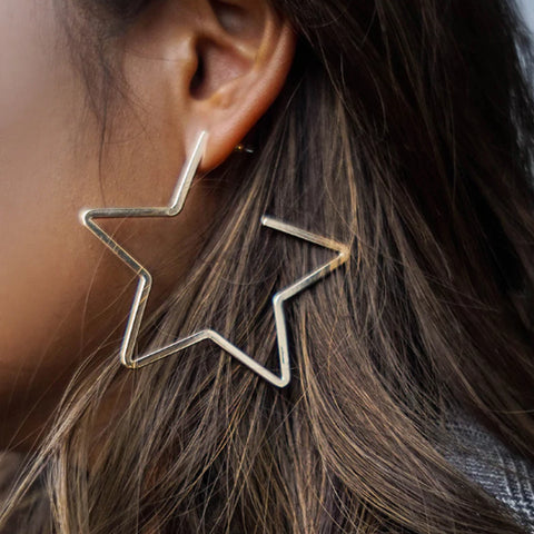 New Star Gold Tone Hoop Earrings For Women Fashion Statement Earrings Femme