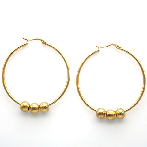 La MaxZa Earrings for Women Stainless Steel Diameter 45mm Round Beaded Hoop Earrings Fashion Jewelry