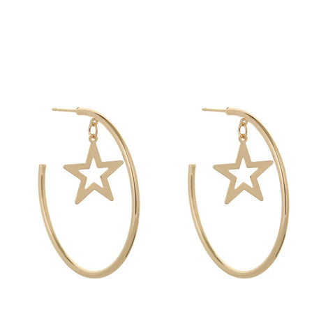 Star Gold Hoop Earrings For Office Lady Copper Earrings