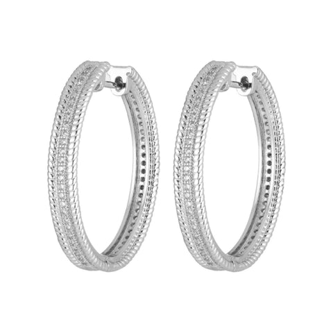Simple Luxury Oval Silver color Hoop Earrings For Women Zircon Jewelry ZK40