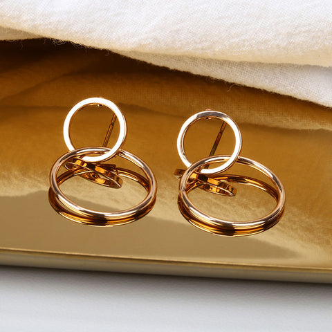 Exaggerated Large Double Circle Hoop Earrings For Women Gold Color Stainless Steel Long Dangle Earrings Jewelry