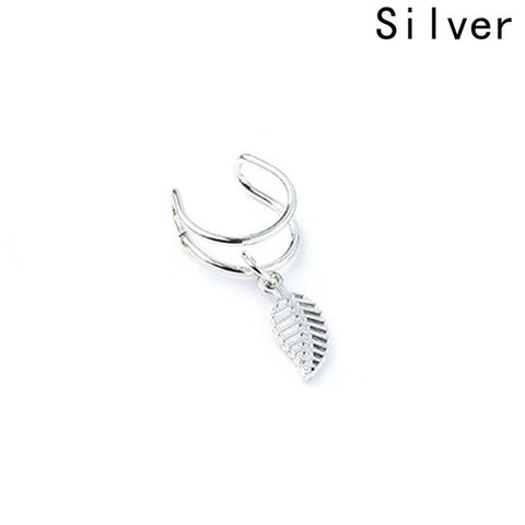 New Simple Metal Leaf Leaf U-shaped Ear Clips No Pierced Triangle Cartilage Clip Ear Clip Black Street Beat Rock Earrings Clips