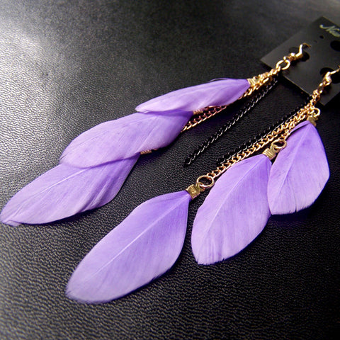 MISANANRYNE 19 Colors Fashion Jewelry fluorescent Color Exotic Dangle Earrings Long Tassel Feather Earrings for Women